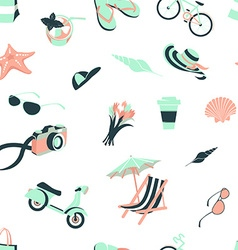 Summer beach party seamless pattern seashells and vector image