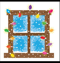 Window decoration christmas lights garlands vector