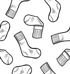 doodle socks pattern seamless vector image
