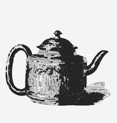 Vintage tea pot engraving ephemeral vector