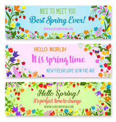 Banners with spring time greetings quotes vector