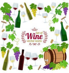 background of wine icons with round frame vector image