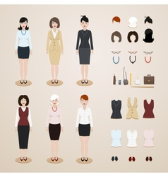 Office women set vector