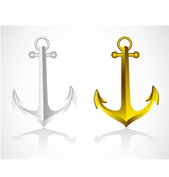 Anchors gold and silver on white background vector
