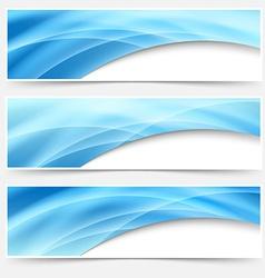 Blue glow swoosh line header footer set vector image