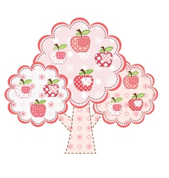 Pink stylized patchwork apple tree vector