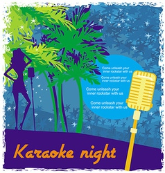 Karaoke night abstract of a microphone and dancers vector
