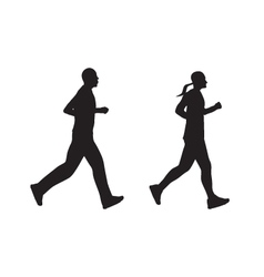 Black silhouette of running people man and woman vector
