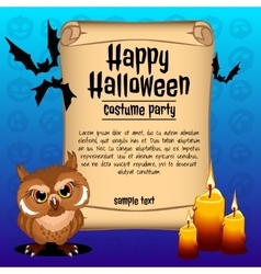 Owl with three candles card happy halloween vector