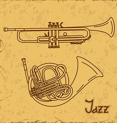 Music background with trumpets vector image
