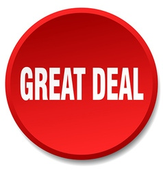 Great deal red round flat isolated push button vector