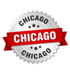 Chicago round silver badge with red ribbon vector
