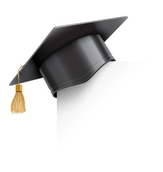 Graduation cap on paper corner vector