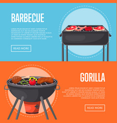 Bbq family party flyers with meats on barbecue vector