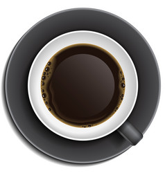 Black cup of coffee on saucer vector image