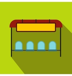 Bus stop station icon flat style vector