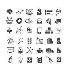 Business analytics and industry icons set vector