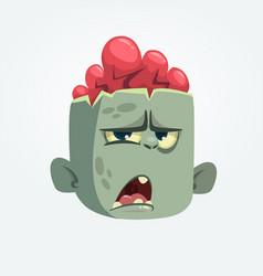 cartoon funny gray zombie head icon vector image