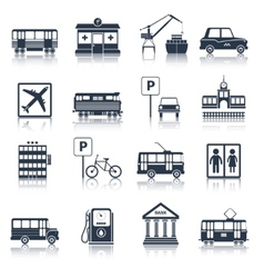 City infrastructure icons black vector image vector image