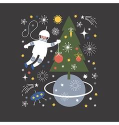 Cosmonaut in open space vector