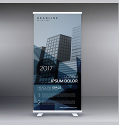 dark blue abstract standee roll up banner design vector image