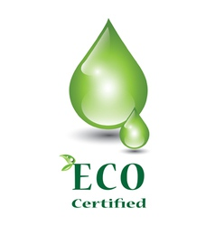 Eco certified green droplets vector