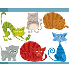 funny cats cartoon set vector image vector image