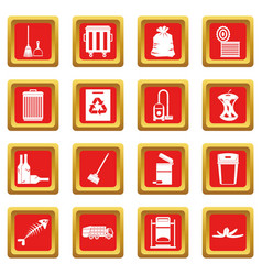 Garbage thing icons set red vector