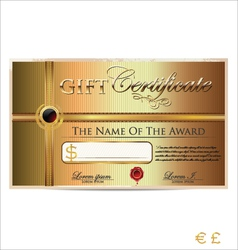 Golden gift certificate vector image vector image