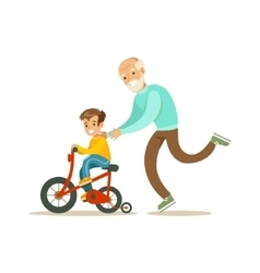 Grandfather running behind grandson bicycle happy vector