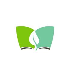 Green leaf book environment logo vector