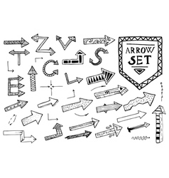Hand drawn arrow icons set on white background vector image vector image