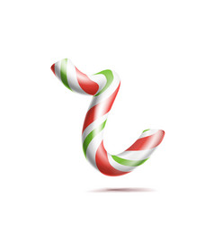 letter r 3d realistic candy cane alphabet vector image vector image