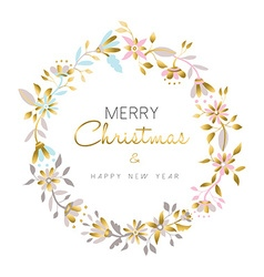 Merry christmas and new year gold flower wreath vector