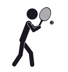 Monochrome silhouette with tennis player and ball vector