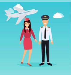 Pilot and stewardess in uniform in flat design vector
