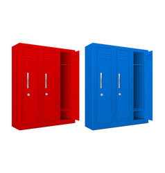 red and blue school lockers vector image