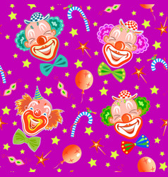 Seamless pattern with clowns on purple vector