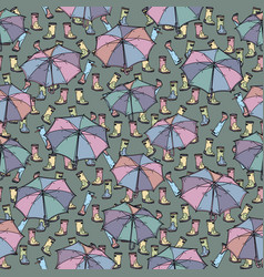 seamless pattern with rubber boots and umbrella vector image vector image