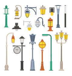 Street lamps and lamp posts vector