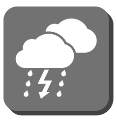 Thunderstorm clouds rounded square icon vector