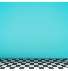 Turquoise empty scene with checkerboard floor vector