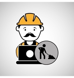 under construction laptop worker vector image