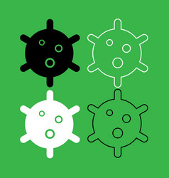 virus icon black and white color set vector image