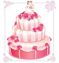 Wedding pink cake vector