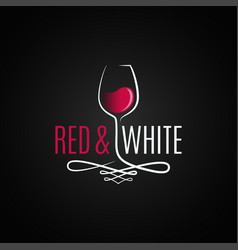 wine glass logo red and white wine vintage design vector image