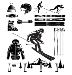 Nordic skiing vintage elements vector