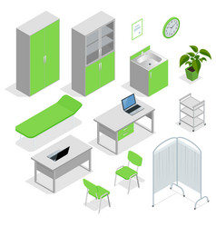Isometric set of hospital equipment and furniture vector