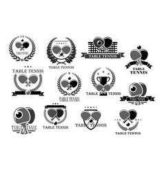table tennis icons tournament award badges vector image