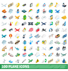 100 plane icons set isometric 3d style vector image